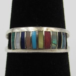 Size 7 Sterling Silver Colorful Inlay Band Ring